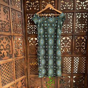 Off shoulder turquoise dress
